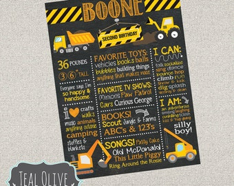 Construction Chalkboard Birthday Sign - First Birthday ChalkBoard Poster - construction, dump trucks - Birthday Sign - DIGITAL FILE