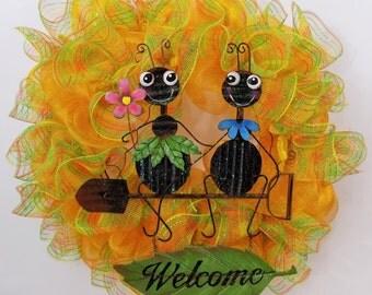 Yellow Deco Mesh Wreath, Spring Wreath, Whimiscal Wreath, Ants Wreath, Summer Wreath, Front Door Wreath, Unique Wreath, New, Gift, Handmade