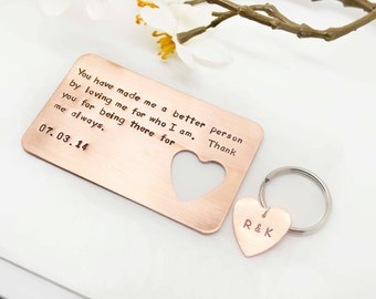 Boyfriend Gift- Hand stamped Wallet Insert Card & Key Chain Set- Christmas Gift- Husband Gift- 7 Year Anniversary, Gift for Boyfriend