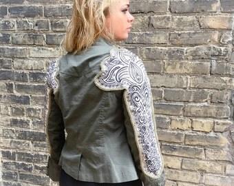 Handmade Upcycled Embellished Boho Army Jacket Embroidered Sleeve Bohemian Gypsy Coat