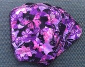Flannel Cloth Wipes - Purple Pink Butterflies (Set of 5)
