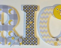 moon and stars baby nursery letters, gray and yellow wall letters, wood letters for boys, decorative letters, personalized letters wall art