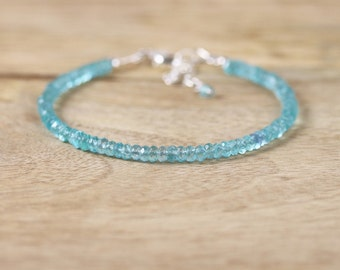 Dainty Apatite Stacking Bracelet in Sterling Silver or Gold Filled. Delicate Aqua Blue Beaded Gemstone Bracelet. Semi Precious Bead Jewelry