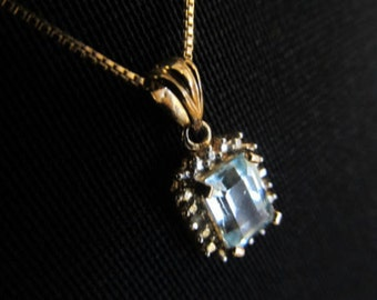 Estate Find Silver and Gold EP Natural Topaz Pendant
