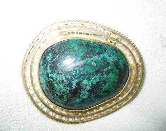Vintage Large Malachite Brooch Gold over Silver