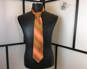 Orange Tie, Vintage Necktie, Mens Fashion, 1960s Striped Tie, Wembley, Mens Tie