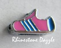 Pink Running Shoe Slide Charms, sneaker slide charm, running shoe slide charm, runner symbol charm, Sports Slide Charm, 8mm slide charms