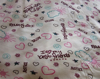 Hearts and Best Friends Ribbed Knit Fabric by the Metre, printed ribbed fabric