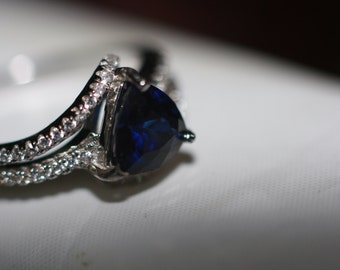 7mm Sapphire sterling silver ring