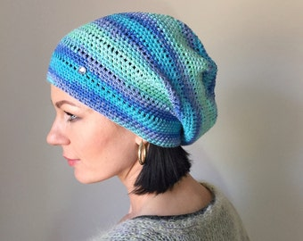 Spring Summer Crochet Beanie / Soft Women Hand Knit Hat / Surfhat/ Slouchy Beanie /Shades of Blue Tyrcuoise Lilac