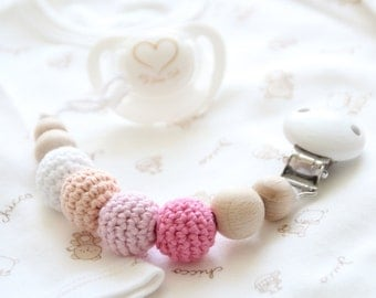 Pink organic baby pacifier clip / Stylish and natural dummy holder / Teething beads