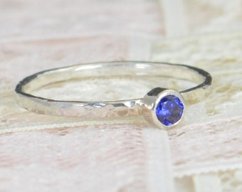 Sapphire Engagement Ring, Sterling Silver, Sapphire Wedding Ring Set, Rustic Wedding Ring Set, September Birthstone, Sterling Silver Ring