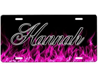 Pink Flames License Plate