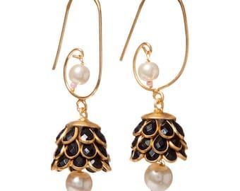 Artisan Made Floral Cluster Drop Paachi Earrings - Black