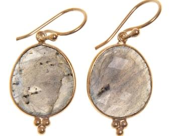 Handmade Gold-plated Sterling Silver Labradorite Oval Earrings