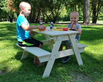 "Wood Child's Picnic Table 31"" X 36"" X 22"""