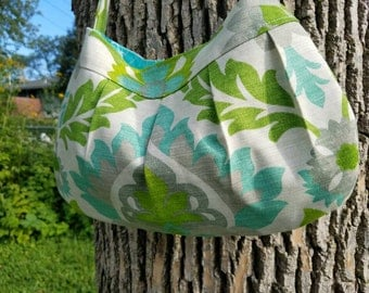 Canvas fabric purse - Buttercup Bag -  cream, gray, and teal