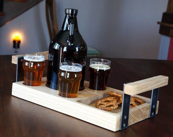 Beer growler serving and sharing tray.