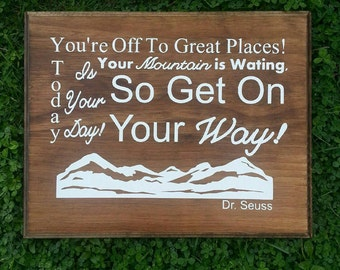 Off To Great Places Dr. Seuss Wood Sign