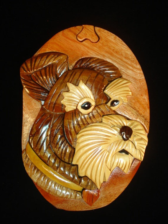 Hand carved wood art intarsia schnauzer dog by myheritageusa