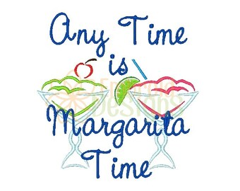 Margarita Time Machine Embroidery Design 080116 Leisure Filled Stitch 4X4 5X7 8X8 6X10 Instant download
