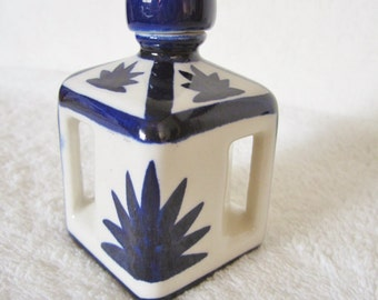 Asian Motif Jar Elegant Vintage Piece-geometric in style,hand-painted cobalt blue design on cream color background. A gift for Fathers Day!