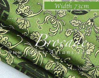 Green brocade Longevity Fabric. Chrysanthemum SB101443