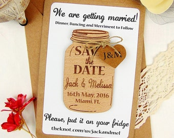 Mason Jar Save the Date with9BackiloPaper, Custom Save th Date Mk0 Save the Date, Wedding Save the Date,Laser .l3c0p9 Save the Dateo9