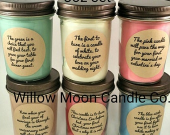 Wedding or bridal shower candle gift set, Christmas version, soy candles,candles first year marriage poem set