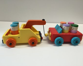 Wooden Toy Tow Truck with a Car including 6 wooden people. Wooden Toy Truck/Car Set. Toddler Wooden Toy Car/Truck Set