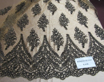 Magnificent French design bridal wedding embroider fabric mesh lace black. Sold by yard.