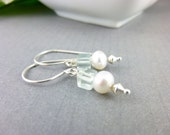 Aquamarine / Pearl Earring Earring Replacement for Lost Earring