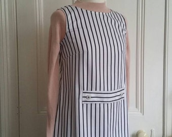 Handmade 60s mod A line mini dress. Black & white stripe. Size M