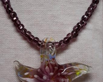 Starfish Pendant on Handmade Glass Bead Chain
