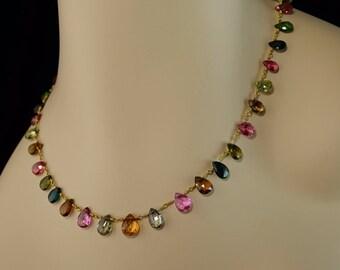 14K Yellow Gold Pink Yellow Green Multi Tourmaline Briolette Artizan Necklace