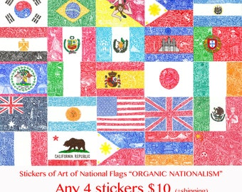 Any 4 stickers 10 dollers - Stickers of Art of national flags