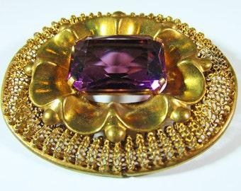 Vintage-Collectible-Czechoslovakia-Jewelry-Gold-Rhinestone-Pin-Brooch-Costume Jewelry-Art Deco-Women-Gift-Birthday Gift- Anniversary Gift