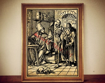 "Occult art: ""Death and Physician"" print, skeleton illustration, magic poster, medieval print, memento mori, alchemy, memento mori #251"