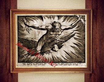 Jupiter on eagle print, magic art, occult poster, fantasy fenix print, magical illustration, mystical poster, fire home decor, alchemy #56