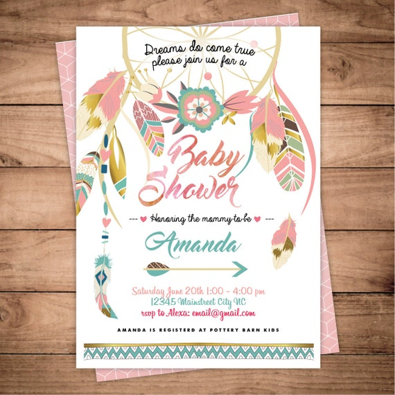 Dreamcatcher Boho Baby Shower Invitation Digital Printable