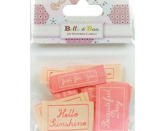 Belle & Boo Christmas 16 Stitched Labels, Hello Sunshine, Beautiful Day, Just for you, Fabric Labels, Fabric Toppers, Card Toppers