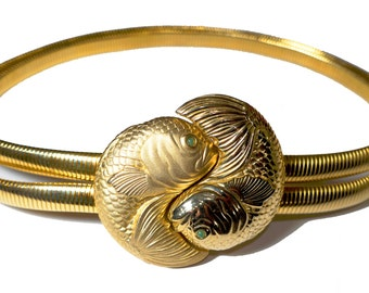Vintage JUDITH LEIBER Double Fish / Pisces Gold Belt