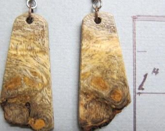 Raw Edge, Buckeye Burl Exotic Wood Earrings, Handcrafted by ExoticWoodJewelryAnd Hypoallergenic wires