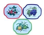 SALE Retro/Vintage 1980s - 80s - Fruit metal serving trays/plates - Lemon, Strawberry, Grape, Green, Red, Purple