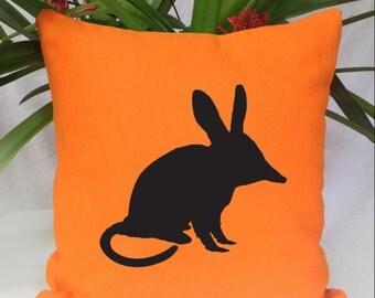 Bilby Silhouette Orange Cushion Cover Free Shipping Australia Wide.