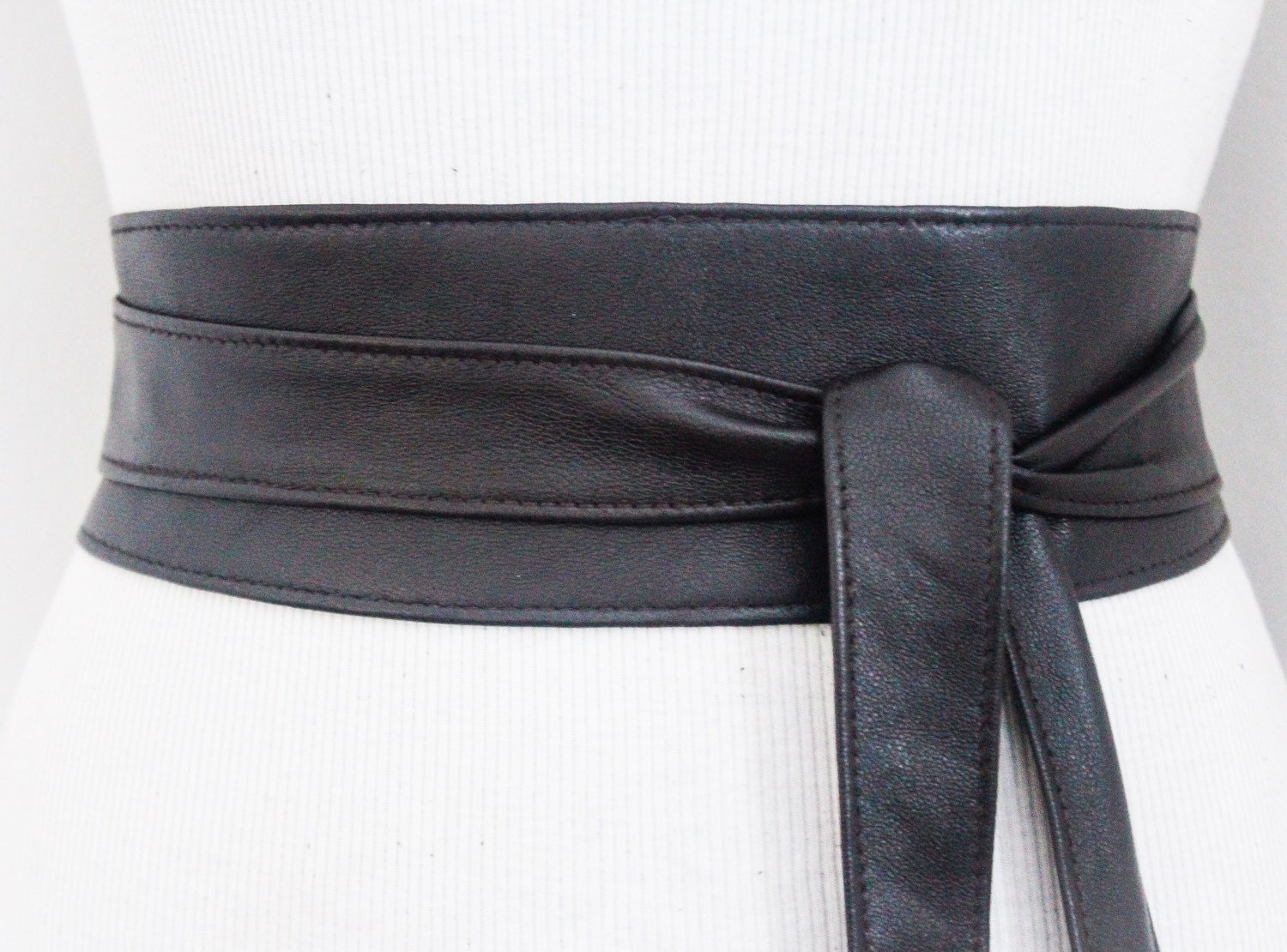 black brown leather obi belt waist belt obi belt