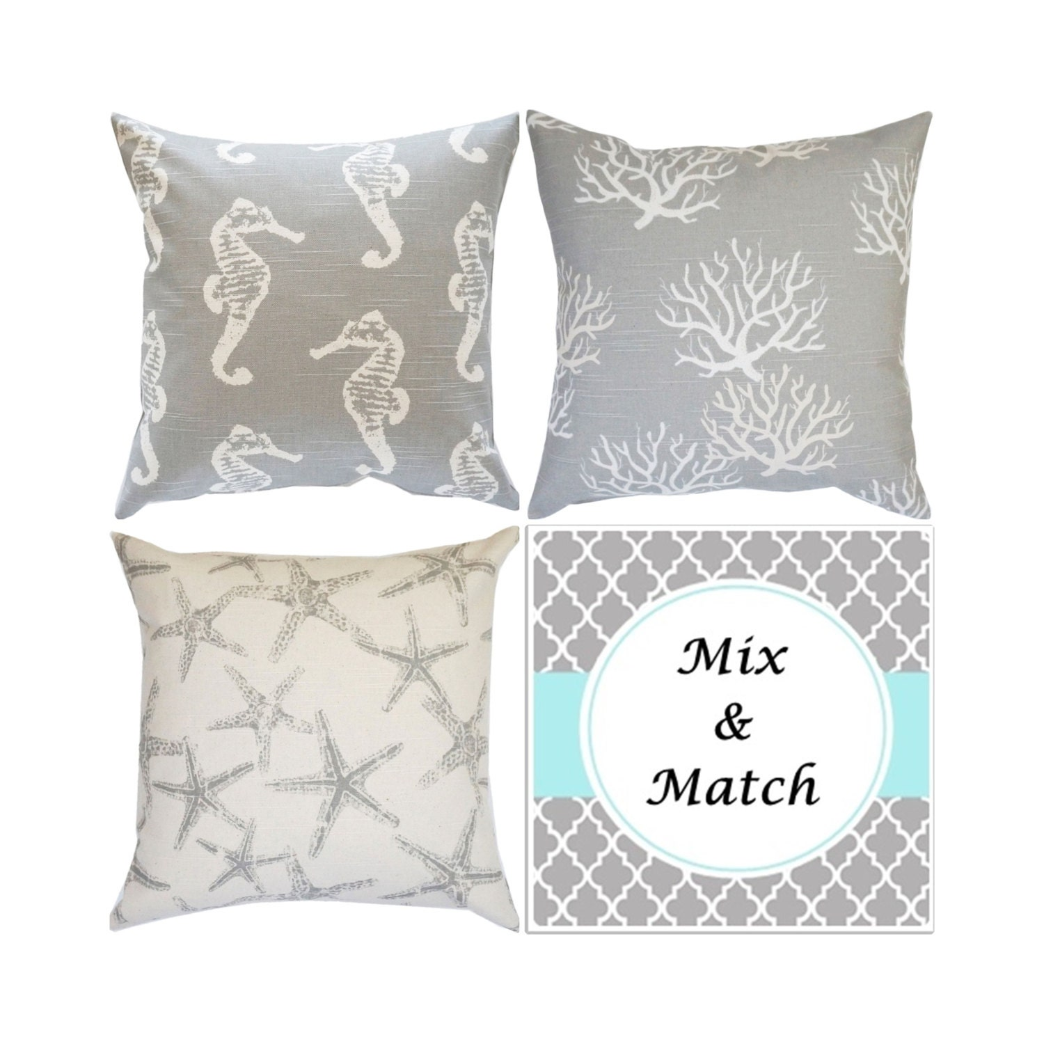 Grey Pillow Cover Grey Toss Pillows Seahorse Throw