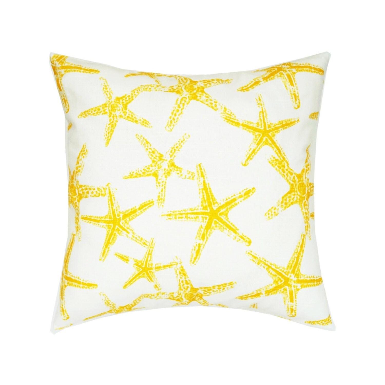Yellow Beach Throw Pillows : Yellow White Starfish Throw Pillow.Yellow Toss Pillow.Starfish