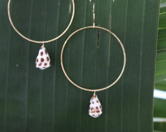 Gold Hebrew Cone Shell Hoop Earrings
