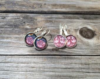 Pink Floral Earrings, floral Earrings, Leverback Earrings, Set of 2 earrings, cabochon earrings